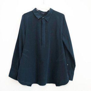 TravelSmith Henley Tunic Shirt Women's Large Blue